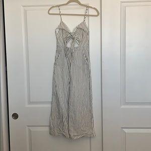 Black & White stripe tie Front cut out jumpsuit